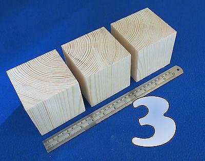 "LOT x 3 CUBES 3.7"" / 95 mm WOODEN BLOCKS BUNDLE SET PINE WOOD NATURAL ECO BRICKS"