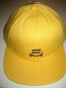 Vans-Shoes-x-Peanuts-Good-Grief-Broken-Skateboard-Hat-Baseball-Cap-Yellow-NWT