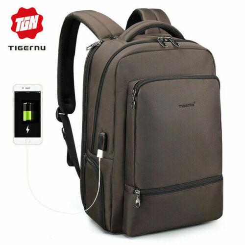Water Repellent Nylon Anti theft Laptop Backpack USB Recharging Travel Schoolbag