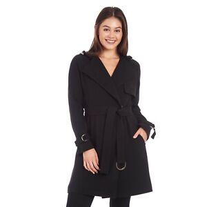 Rachel Roy Hooded Crepe Wrap Trench Coat - Women's Size L - Black