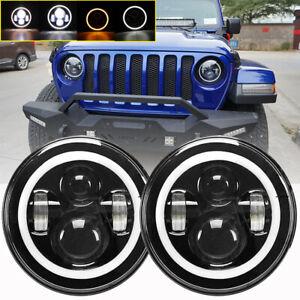 Pair-7-034-Inch-Round-LED-Headlights-Halo-Angle-Eyes-For-Jeep-Wrangler-JK-LJ-TJ-CJ
