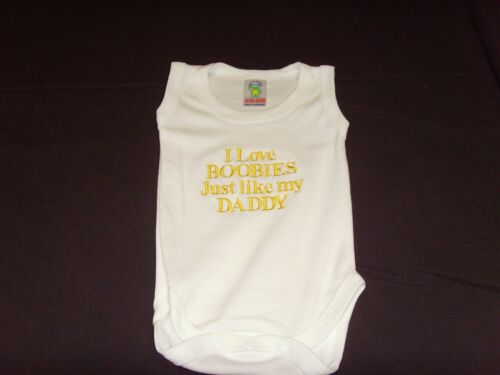 Funny Embroidered Personalised Vest Baby Shower Gift I love boobies like daddy
