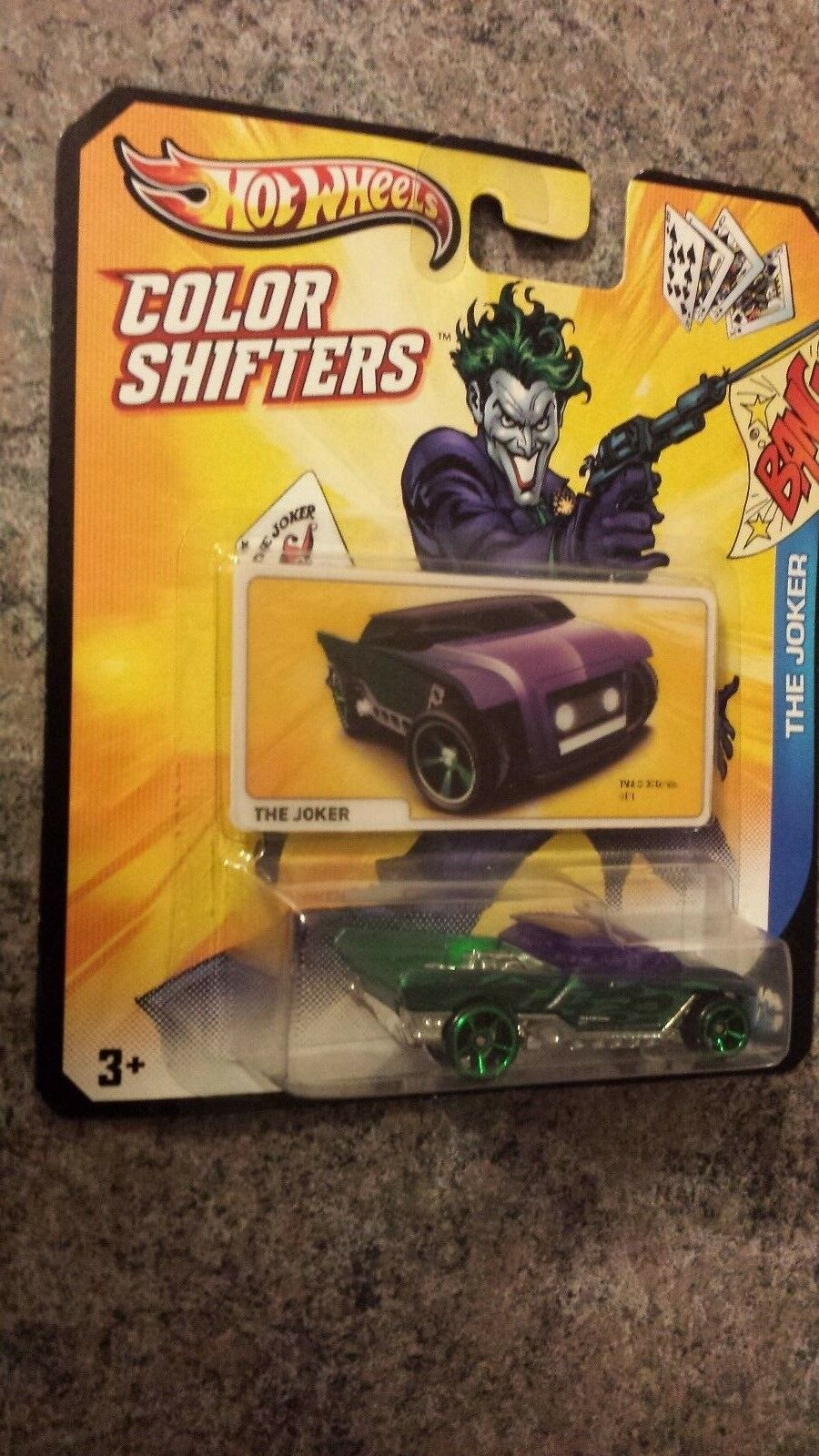 New THE JOKER Card CAR JESTER HOT WHEELS color shifters SEALED on special card