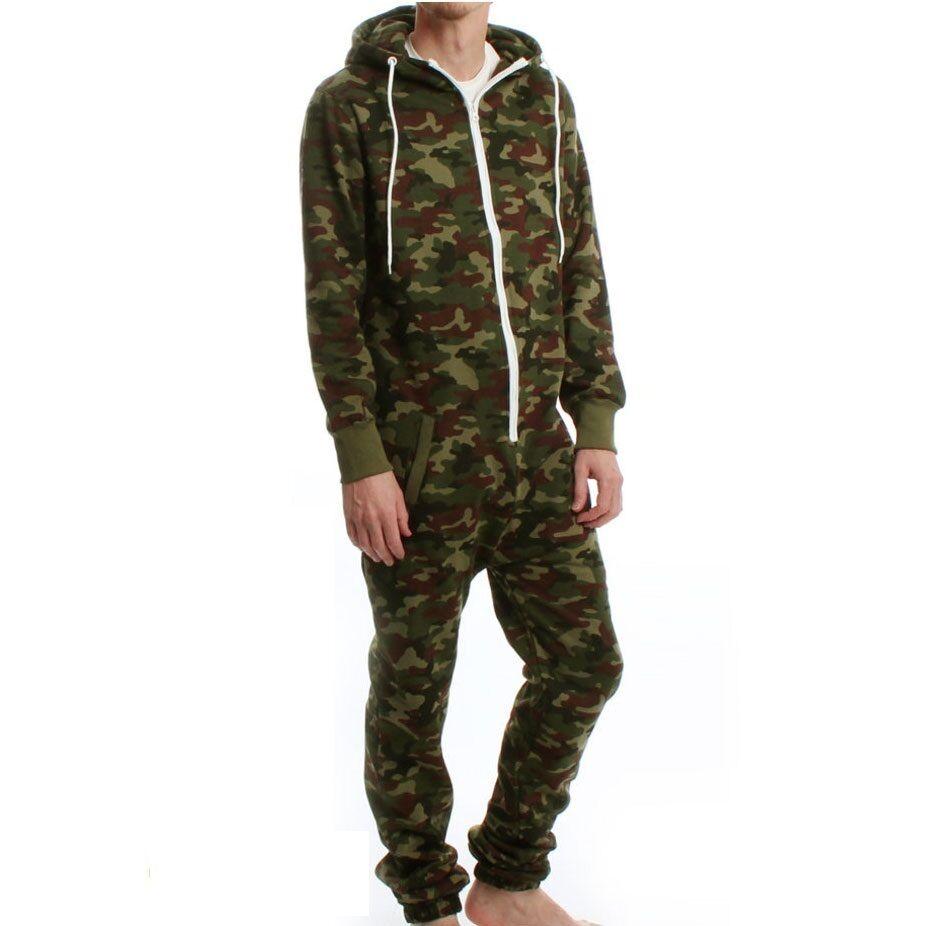Mens Camouflage Army Print Full Print Zip Hooded Jumpsuit Play Suit Pyjama PJ