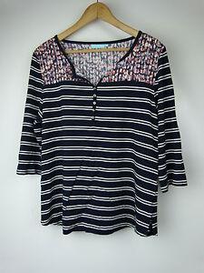 BLUE-ILLUSION-Top-blouse-Sz-M-12-Navy-blue-white-stripe-w-red-detail