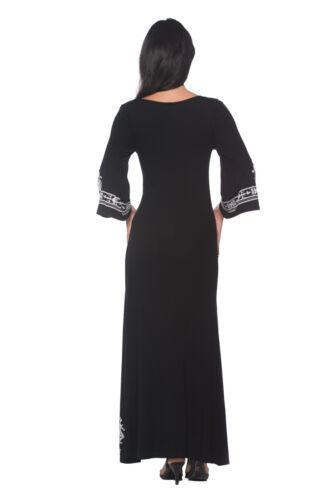 Caftan Style Ethnic Design Black Travel Long Maxi 236 mv Dress S M L XL 2XL 3XL