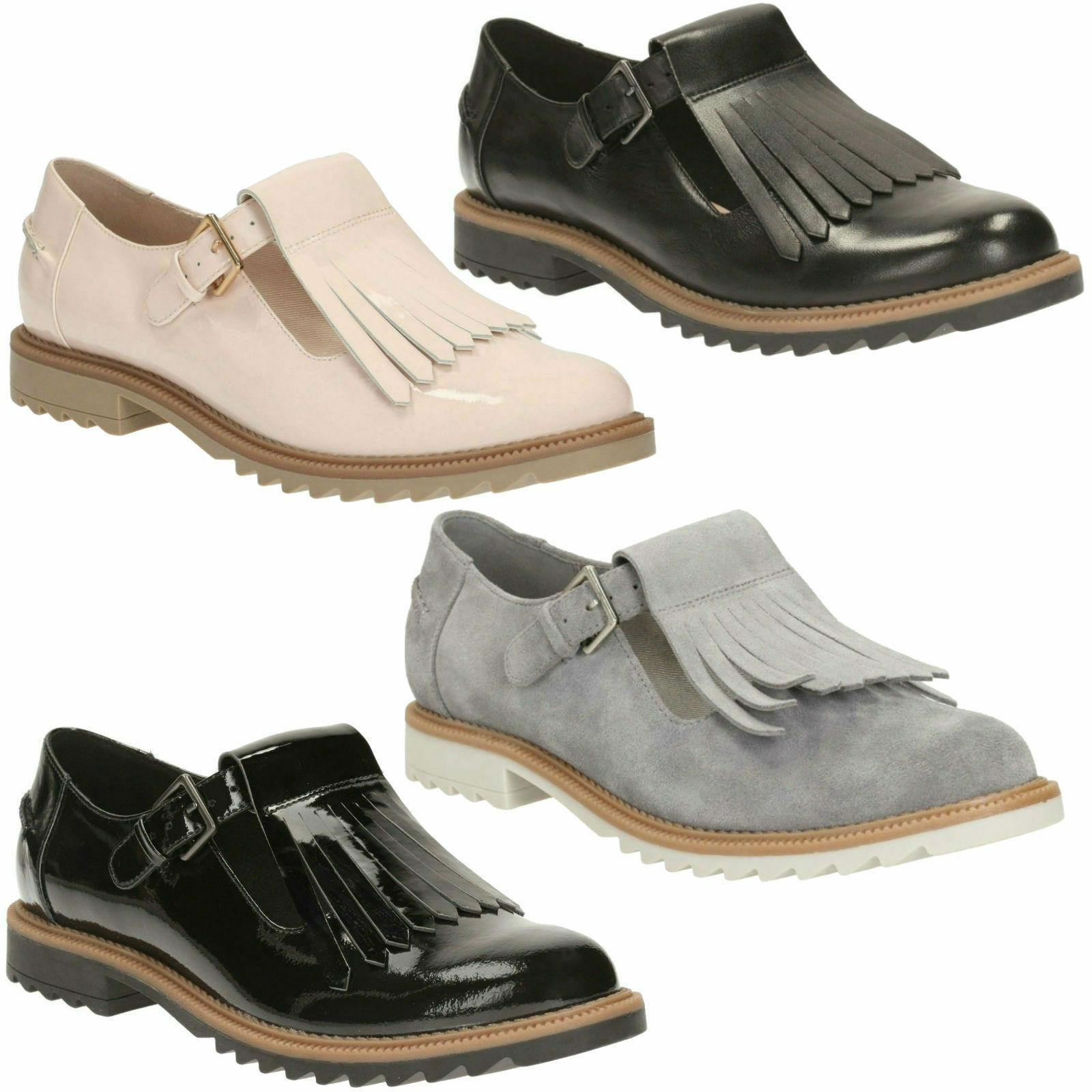 GRIFFIN MIA LADIES CLARKS FRINGE DETAIL BUCKLE Schuhe FASTEN WORK FLAT CASUAL Schuhe BUCKLE a8a59e