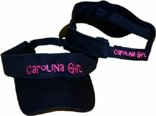 Black and Pink Carolina Girl North South SC NC Embroidered Visor hat cap