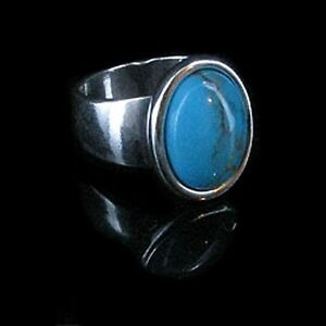 925-Sterling-Silver-Natural-Blue-Turquoise-Ring-Band-size-6
