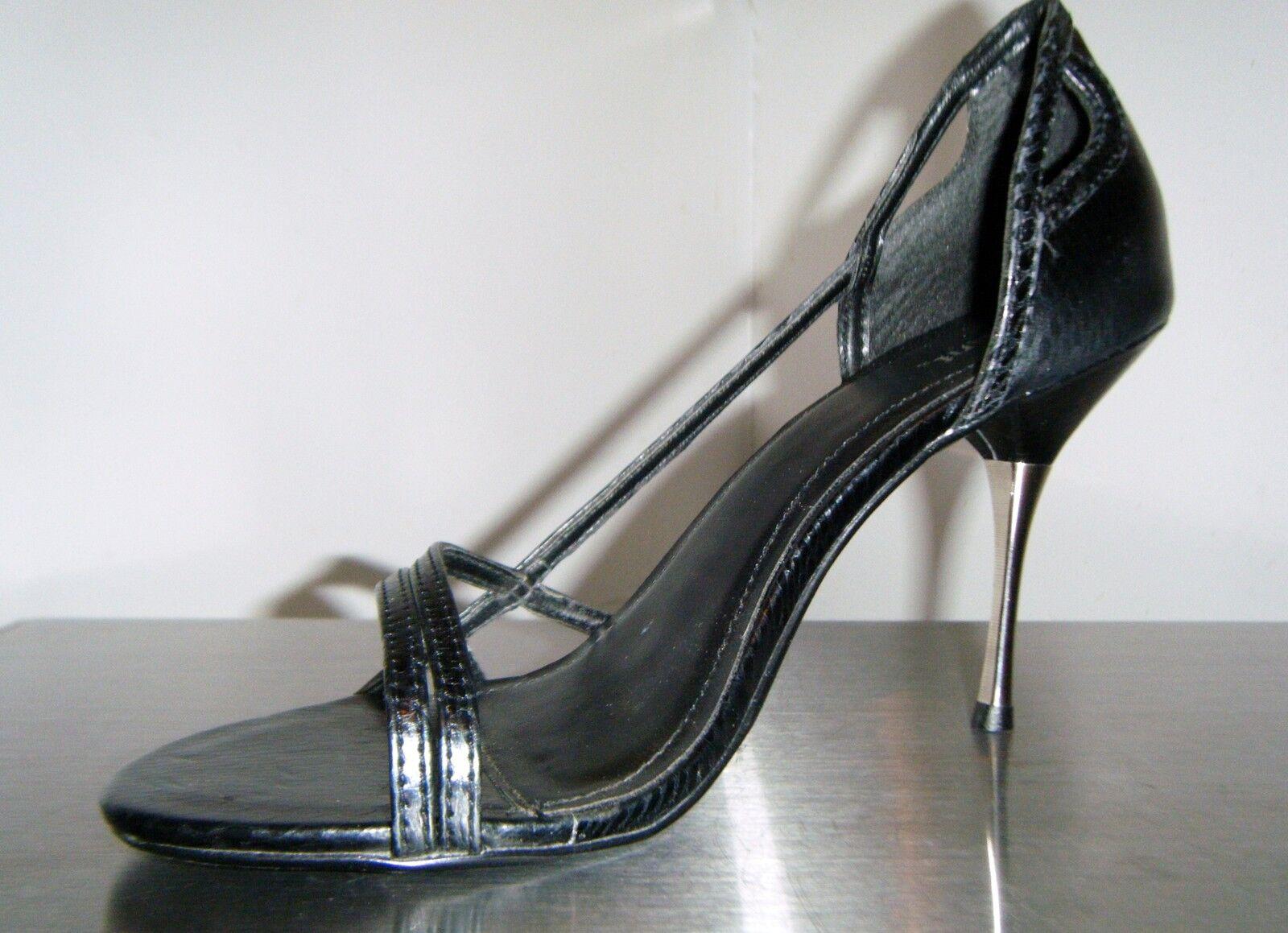 TAUNT SPLASH Heels Women's Black Snake Metallic Heels SPLASH Slingbacks Strappy Pumps sz. 7 8406ef