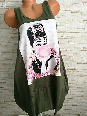 TUNIKA lang Kleid Shirt Audrey Hepburn Damen Italy KHAKI ...