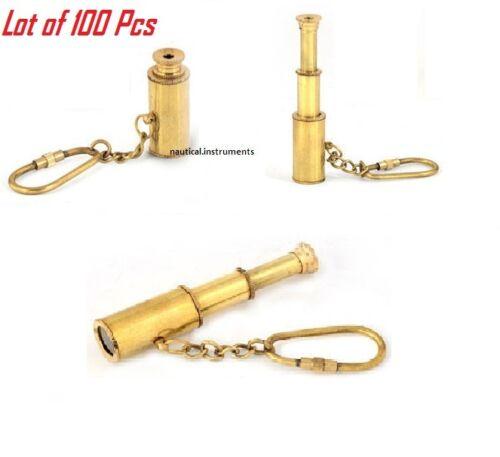 Lot of 100 Pcs 3 inch Brass Telescope Nautical Pendant Key chains