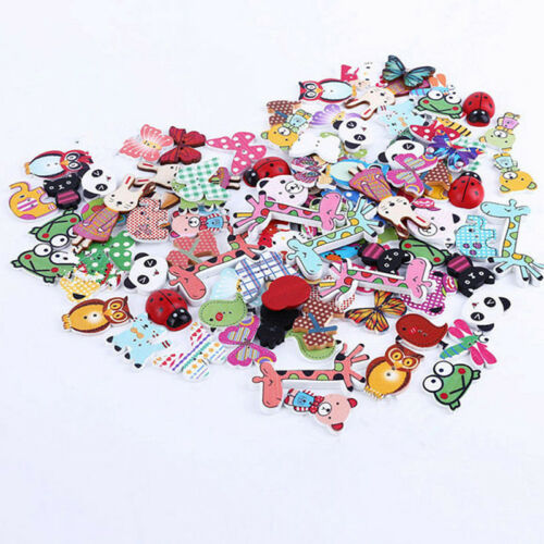 50Pcs Mixed Animal Button 2 Holes Wooden Buttons DIY Sewing Scrapbooking Craft