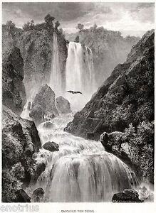 Cascata di Terni o delle Marmore. Grande Veduta Pittoresca + Passepartout. 1876