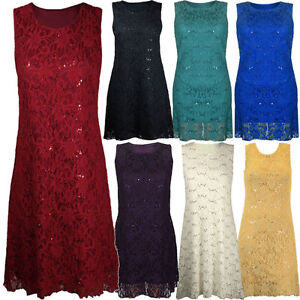 Ladies-Womens-Plus-Size-Lace-Sequin-Party-Peplum-Top-or-Dress-Sizes-12-26