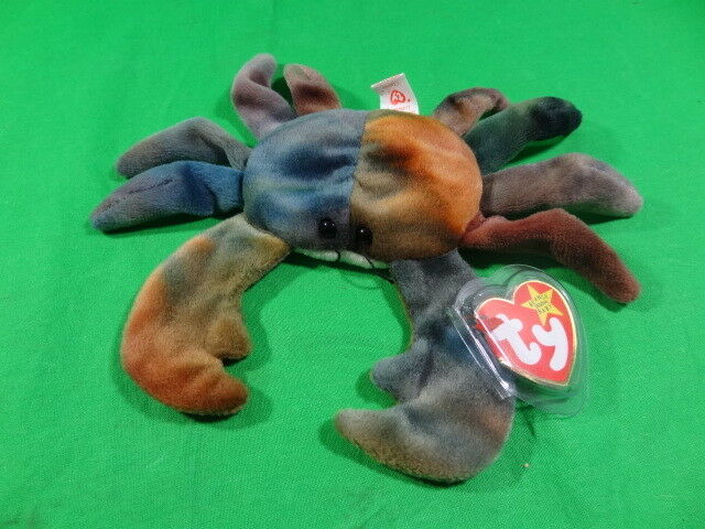 Rare Authentic Retired Ty Beanie Baby Babies Claude the Tie Dye Crab 1996