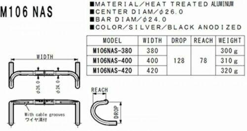 NITTO M106NAS Black Road Racing Drop Bar Handle 420mm drop 128 4582350830958
