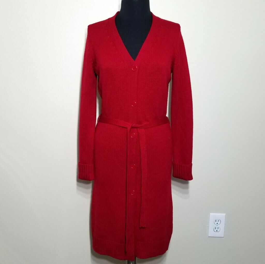 Karen Kane Lifestyle Sweater Cardigan Women Small Red LONG Button Duster Tie Wai