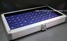 1 Wholesale Locking Aluminum Blue 72 Ring Display Portable Storage Boxes Case