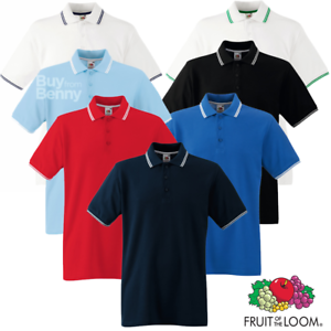Fruit-Of-The-Loom-MEN-039-S-TIPPED-POLO-SHIRT-COLLAR-CONTRAST-SMART-GOLF-SPORT-S-3XL