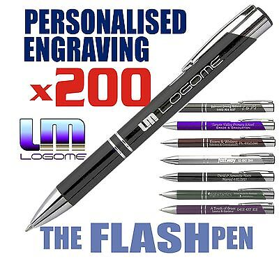 200x Personalised ENGRAVED FLASH Metal Pen Executive Gift Business Promotion