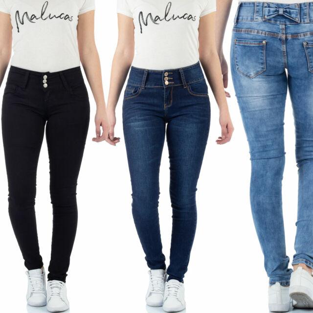 Malucas Damen Jeans Skinny Hose Hüftjeans Hüfthose Röhrenjeans Röhrenhose Denim