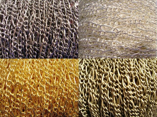 Chain Figaro Silver Gold Brass Copper  MANY COLORS Very Strong 5 ft  or 15 ft