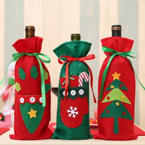 Precioso-Pet-Home-Decoracion-Bolsas-de-Tapa-de-Botella-de-Vino-Fiesta-De-Santa-Claus-Navidad-Fo