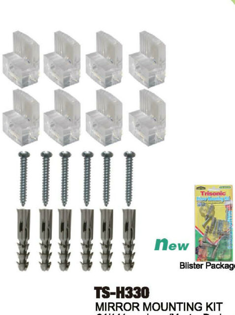 6pc Transpa Mirror Wall Mounting Kit Set Clear Clips Brackets S Anchors
