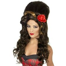 New Womens Rehab Babe Brown Wig Music Icon Amy Winehouse Fancy Dress Accessory
