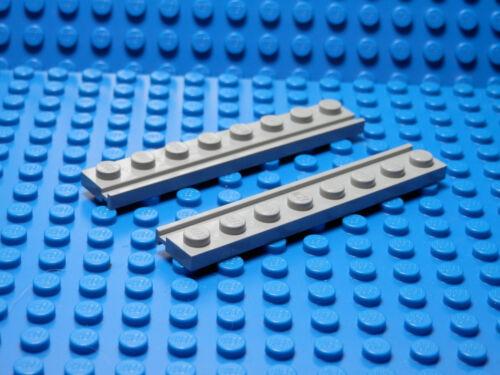 Set of 2 NEW 1x8 Plates w//Door Rail  Light Bluish Gray LEGO LEGOS