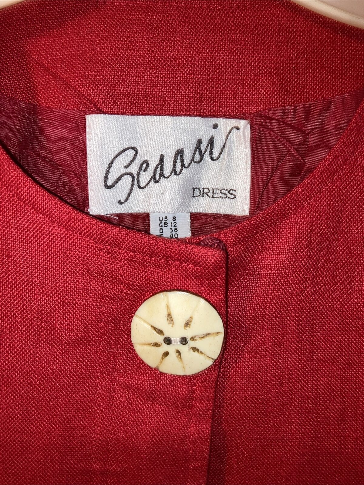 Vintage Arnold Scaasi size 8 Red Classy Linen  Dr… - image 2