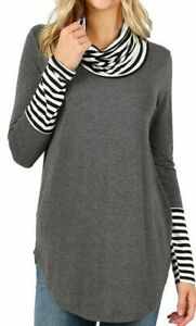 Women-039-s-Casual-Long-Sleeve-Charcoal-Contrast-Turtleneck-Plus-Size-Top-1x-2x-3x