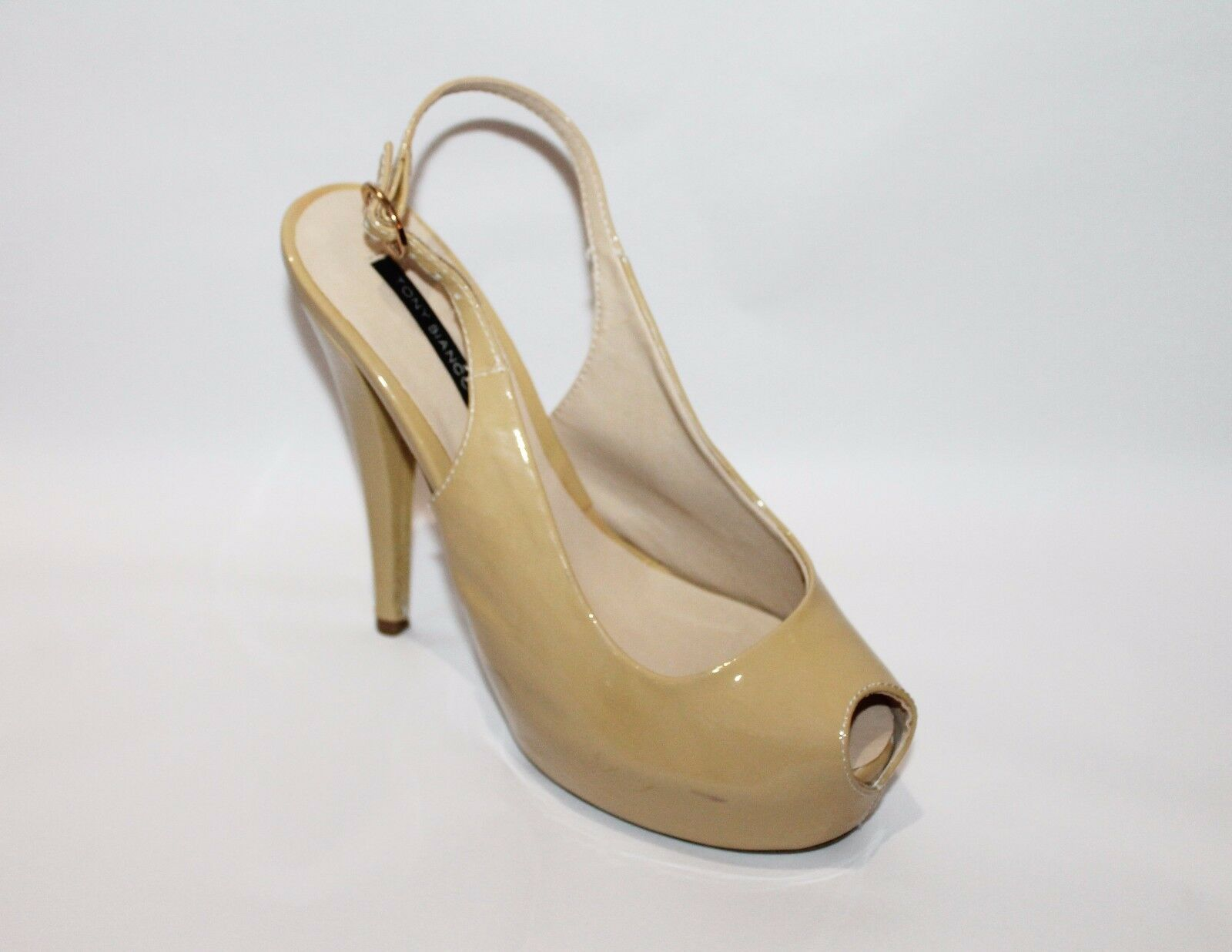 TONY BIANCO Designer Heels Champagne Deauville Patent Leather Heels Designer Size 6.5 a2d295