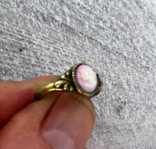 Vintage Pink Conch Shell Cameo Ring in Bronze  Size 6 1/2  Hand Carved in Italy