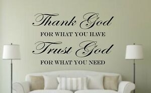 Thank God Trust God Bible Verse Insprational Quote Wall Sticker
