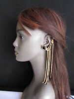Women Earrings Fashion Extra Long Pair Gold Black Fabric Drape Beads 1 Side