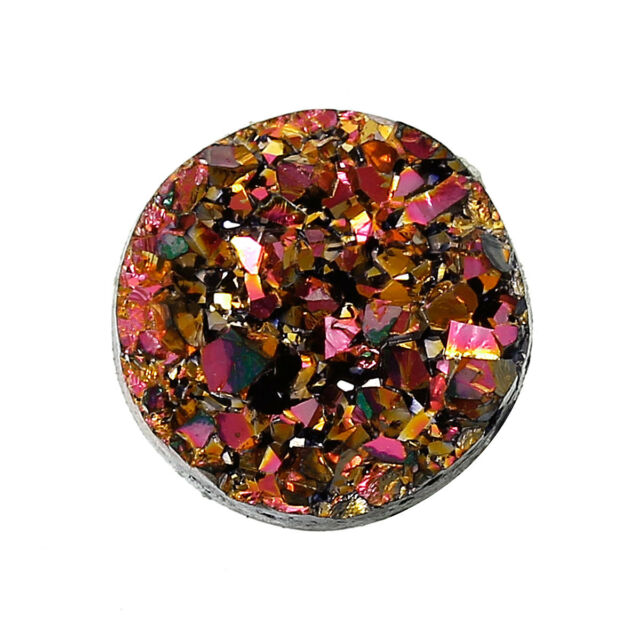 10 Round Resin Metallic AB Magenta, Gold and Black DRUZY CABOCHONS 12mm cab0196a
