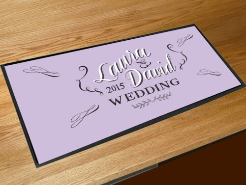 Personalised Wedding chalkboard style bar runner home bar counter mat LILAC