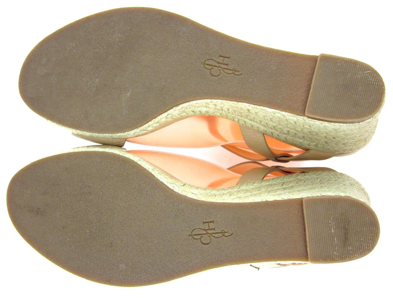 Cole Haan 'Elizabeth' T-Strap Espadrille Wedge 8B Sandales Sandstone Leder Sz 8B Wedge 06fe8a