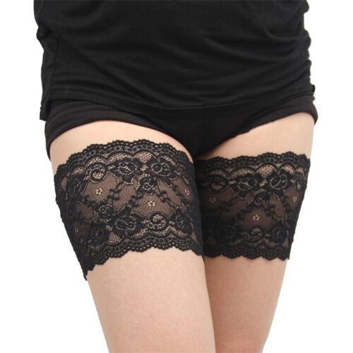 Ladies Floral Lace Elastic Hosiery Anti-Slip Anti-Chafing Thigh Bands Leg Warm