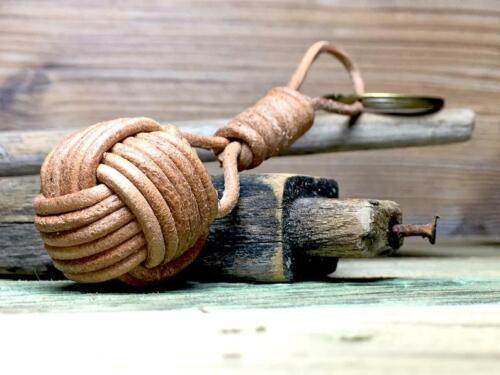 Monkey Fist Key-Ring Monkey Cuff Leather Key-Chain handmade.