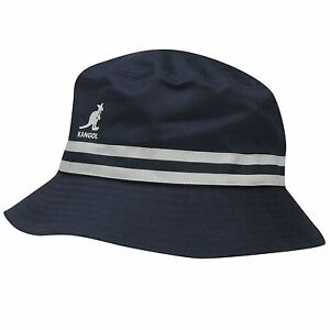 NEW 2017 Kangol Hats Stripe Bucket Hat -SUMMER Navy BNWT RRP £34.99 ... b523a27e7ec