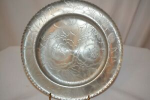 Vintage-Antique-Hand-Wrought-Aluminum-Tray-Plate-Floral-Design-10-034