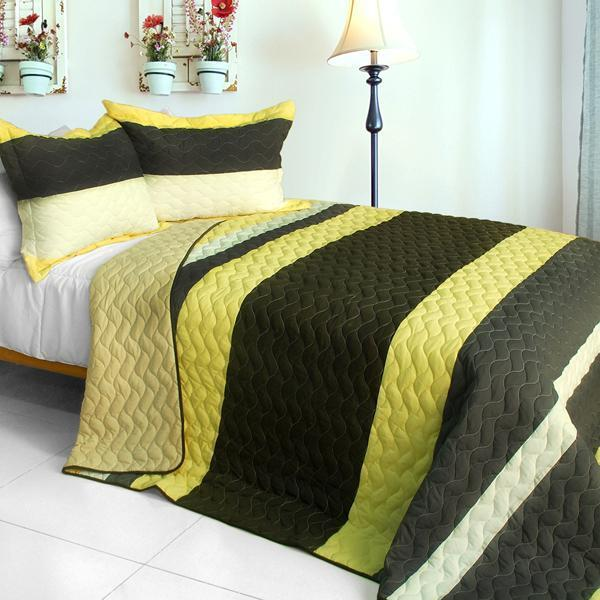 3 PC Bathe in Sunshine yellow brown stripes vermicelli Queen Quilt Shams