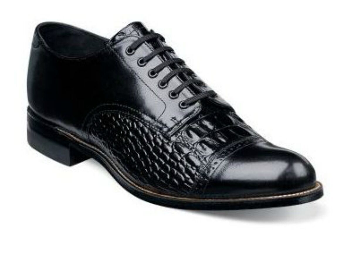 New Stacy Adams Mens Madison Cap Toe Oxford Black Lizard Print Leather 00034-001