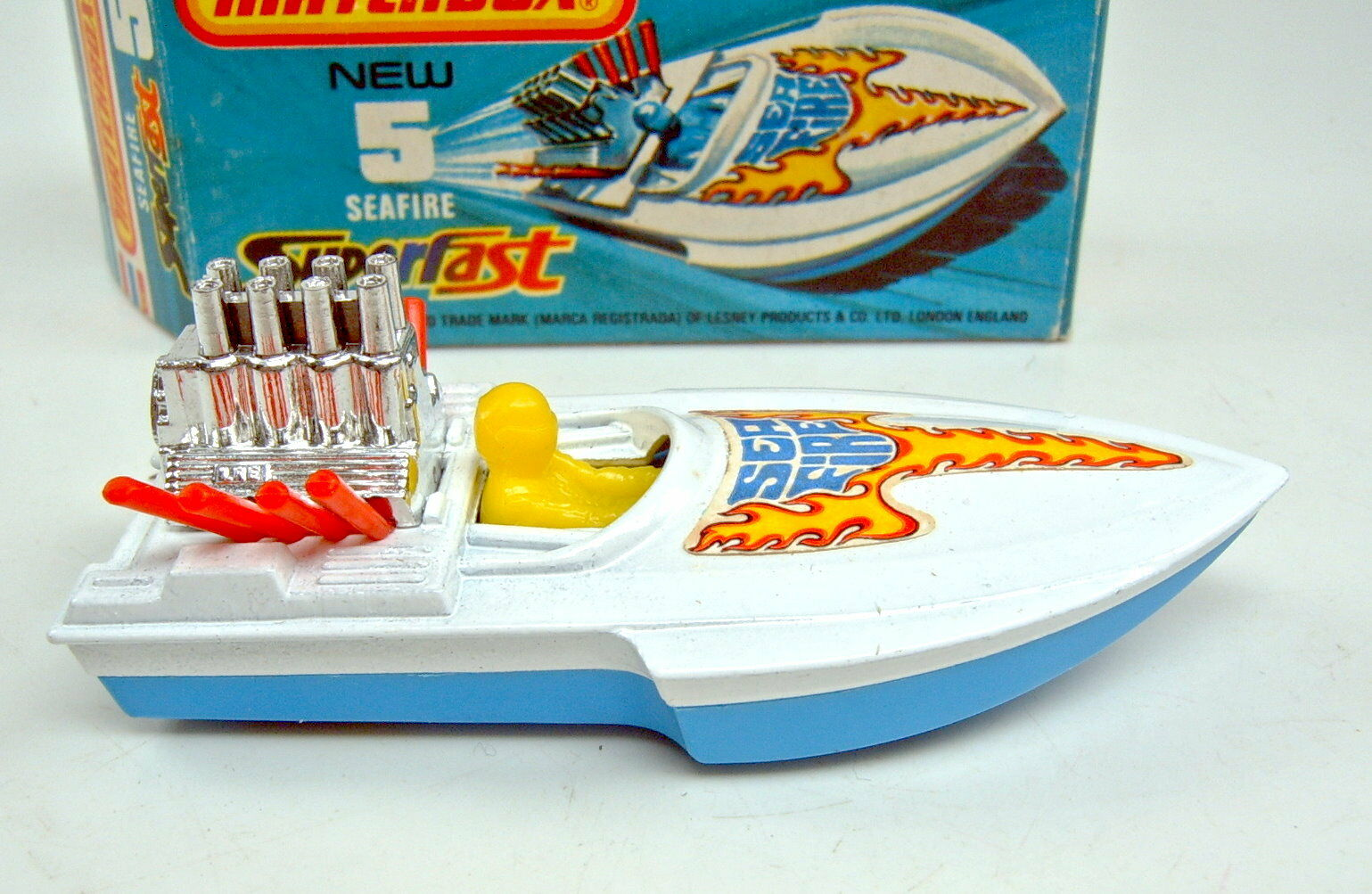 Matchbox SF SF SF no 05b Seafire boat azul & blancoo zitronenamarilloer conductor top en Box f526c1