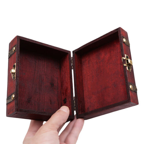 Vintage Double Belt Small Wooden Jewelry Ring Storage Box Case Organizer S