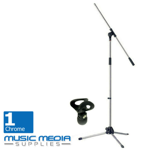 Adjustable Chrome Floor standing Microphone mic stand with boom incl Clip Holder