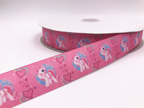 DIY 5-10 Yard 1/'/'25MM LOVE pony Printed Grosgrain Ribbon Hair Bow Sewing Ribbon